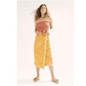 Free People Yasmin Border Midi Skirt